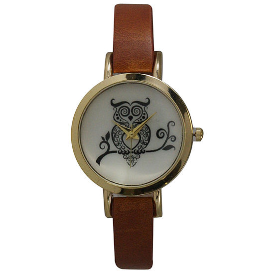 Olivia Pratt Womens Brown Leather Strap Watch-20378lightbrownowl