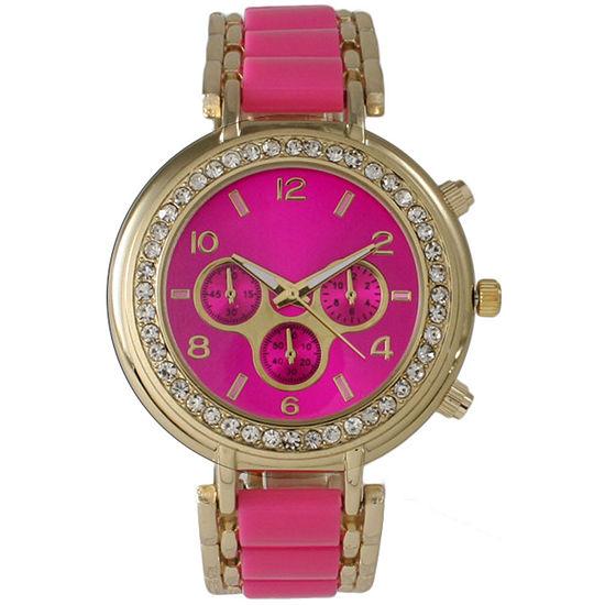 Olivia Pratt Womens Pink Bracelet Watch-26245hotpink