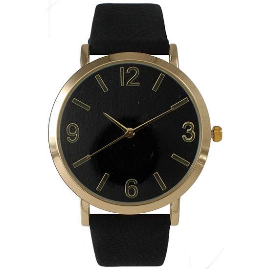 Olivia Pratt Womens Black Leather Strap Watch-26268bblack