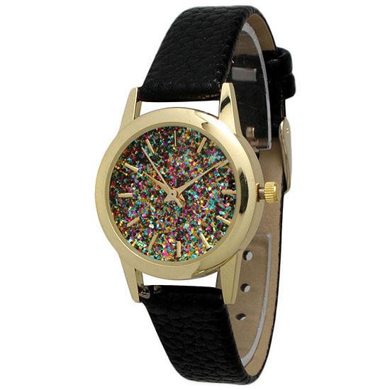Olivia Pratt Womens Black Leather Strap Watch-40002black