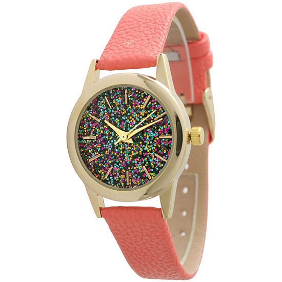 Olivia Pratt Womens Pink Leather Strap Watch-40002coral