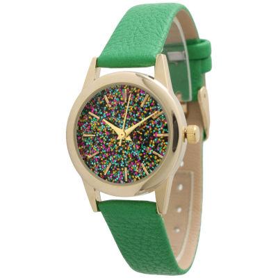 Olivia Pratt Womens Green Strap Watch-40002green