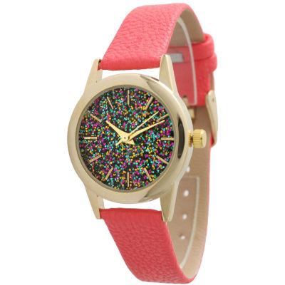 Olivia Pratt Womens Pink Strap Watch-40002hotpink