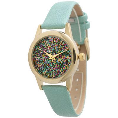 Olivia Pratt Womens Green Strap Watch-40002mint