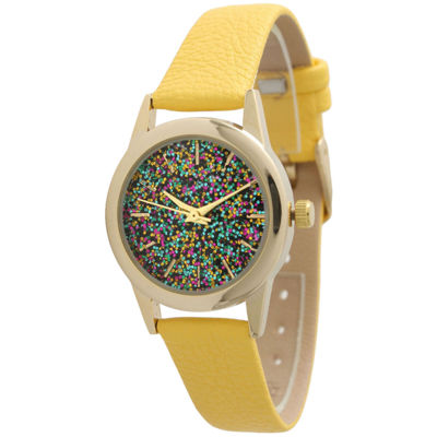 Olivia Pratt Womens Yellow Strap Watch-40002yellow
