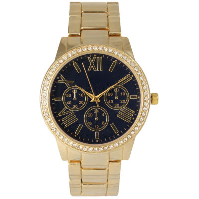 Olivia Pratt Womens Gold Tone Bracelet Watch-14203navy