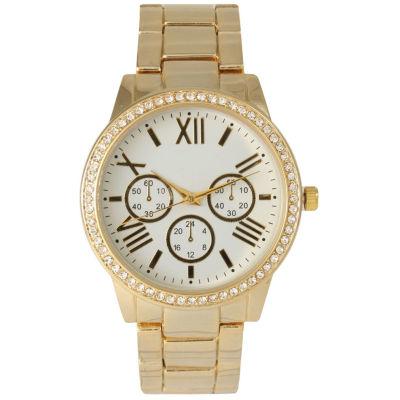 Olivia Pratt Womens Gold Tone Bracelet Watch-14203white