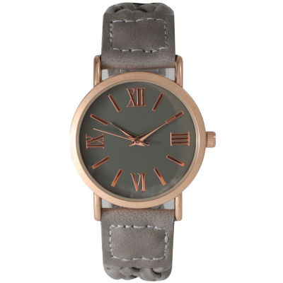Olivia Pratt Womens Gray Strap Watch-14654greyrose