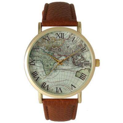 Olivia Pratt Womens Brown Strap Watch-15043cognac