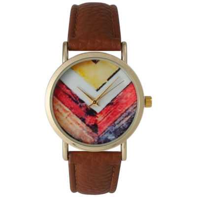 Olivia Pratt Womens Brown Strap Watch-15135brown