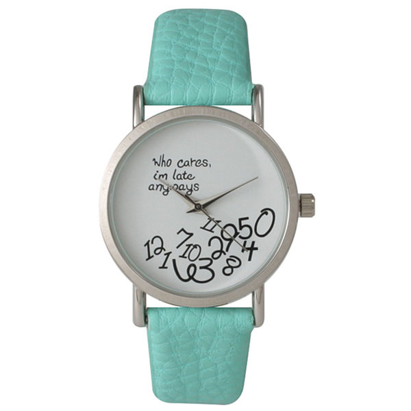 Olivia Pratt Womens Green Strap Watch-15189mint
