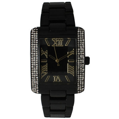 Olivia Pratt Womens Black Strap Watch-15254blackgold