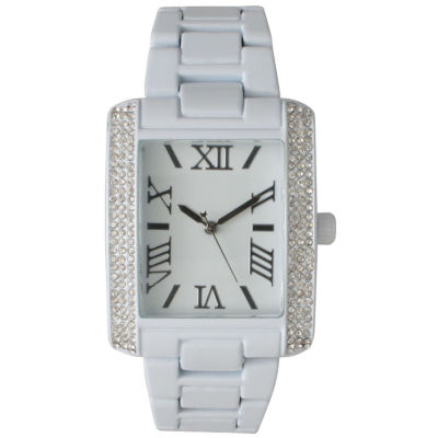Olivia Pratt Womens White Strap Watch-15254whitesilver