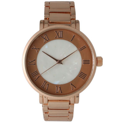 Olivia Pratt Womens Rose Goldtone Strap Watch-15255mprose