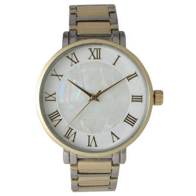 Olivia Pratt Womens Two Tone Strap Watch-15255mptwotone