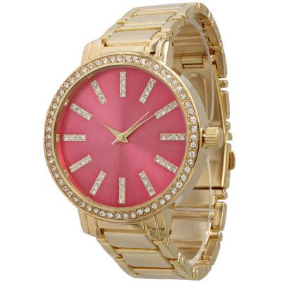 Olivia Pratt Womens Gold Tone Bracelet Watch-15267goldhotpink