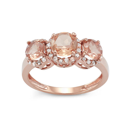 Simulated Morganite Quartz And 1/4  C.T. T.W. Diamond 10K Rose Gold Ring