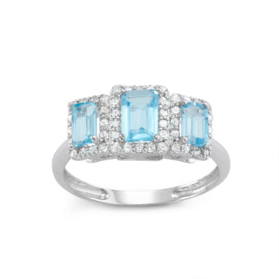 Genuine Swiss Blue Topaz And 1/3  C.T. T.W. Diamond 10K White Gold Ring