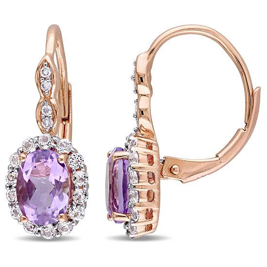 Diamond Accent Genuine Purple Amethyst 14K Gold Drop Earrings