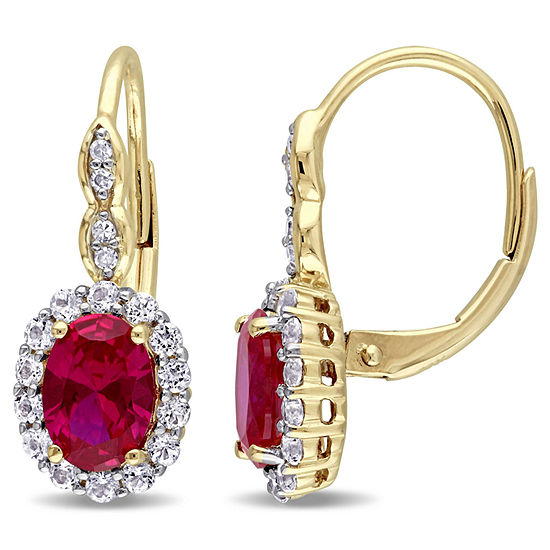 Red Lab-Created Ruby and Diamond Accent  Drop Earrings in 14K Gold