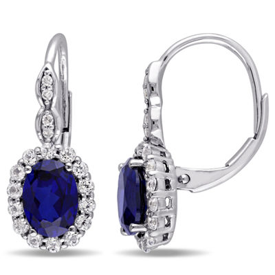 Diamond Accent Lab Created Blue Sapphire 14K Gold Drop Earrings