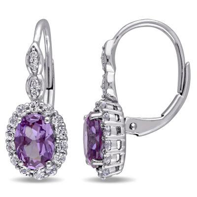 Diamond Accent Genuine Purple Alexandrite 14K Gold Drop Earrings