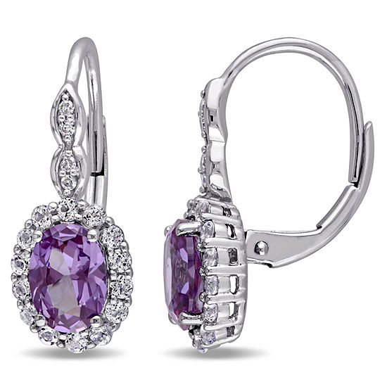 Diamond Accent Genuine Purple Alexandrite 14K Gold Drop Earrings