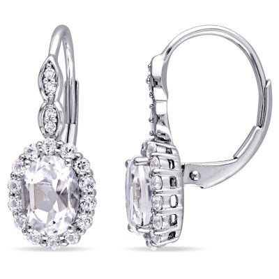 Diamond Accent White Topaz 14K Gold Drop Earrings