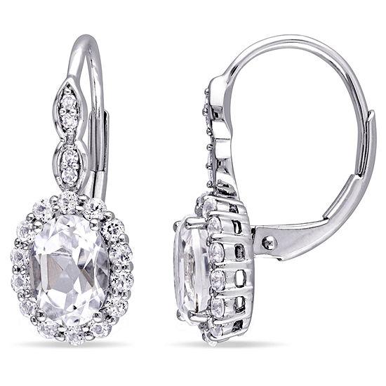 Diamond Accent Genuine White Topaz 14k Gold Drop Earrings