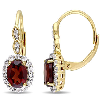 Diamond Accent Genuine Red Garnet 14K Gold Drop Earrings