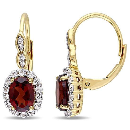 Diamond Accent Genuine Red Garnet 14K Gold Drop Earrings