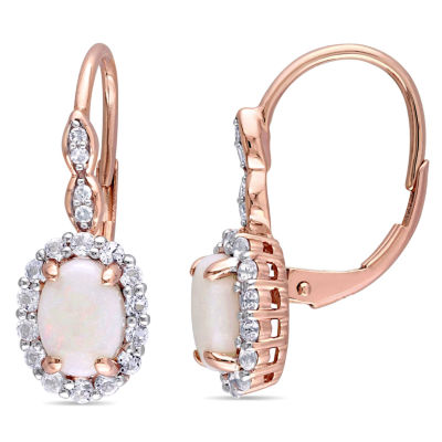Diamond Accent Genuine Pink Opal 14K Gold Drop Earrings