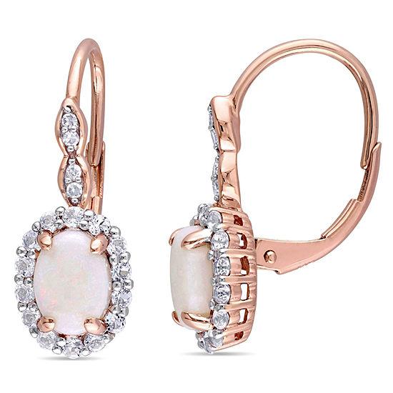 Diamond Accent Genuine Pink Opal 14K Gold Drop Earrings
