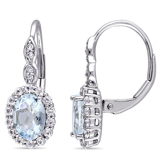 Diamond Accent Genuine Blue Aquamarine 14K Gold Drop Earrings