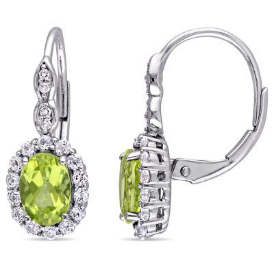 Diamond Accent Genuine Green Peridot 14K Gold Drop Earrings