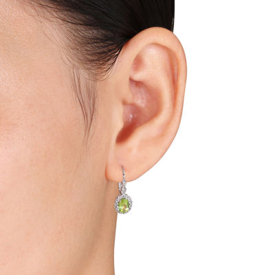 Diamond Accent Genuine Green Peridot 14K Gold Drop Earrings