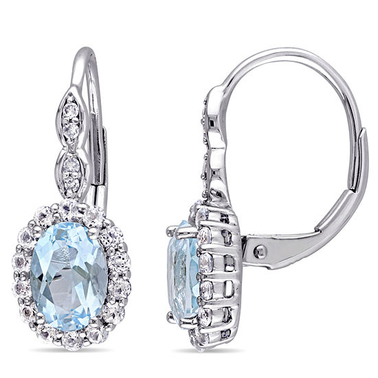 Diamond Accent Genuine Blue Topaz 14K Gold Drop Earrings