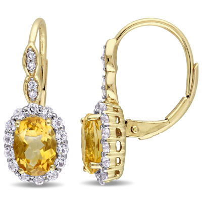 Diamond Accent Genuine Yellow Citrine 14K Gold Drop Earrings