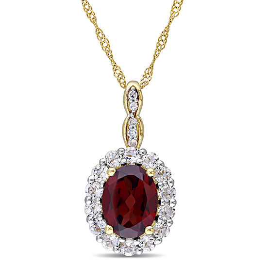 Womens Diamond Accent Genuine Red Garnet 14K Gold Pendant Necklace