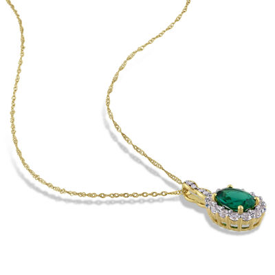 Womens Diamond Accent Lab Created Green Emerald 14K Gold Pendant Necklace