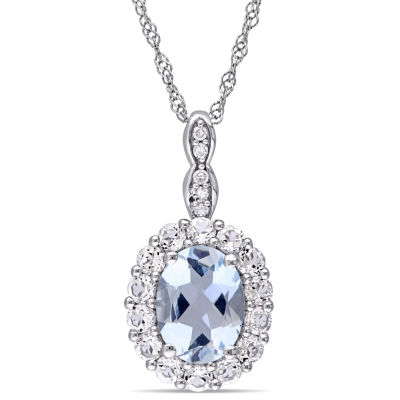 Womens Diamond Accent Genuine Blue Aquamarine 14K Gold Pendant Necklace