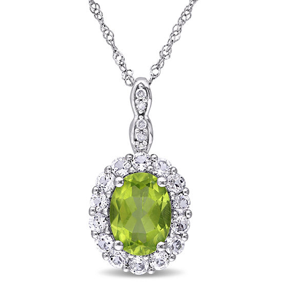 Womens Diamond Accent Genuine Green Peridot 14K Gold Pendant Necklace