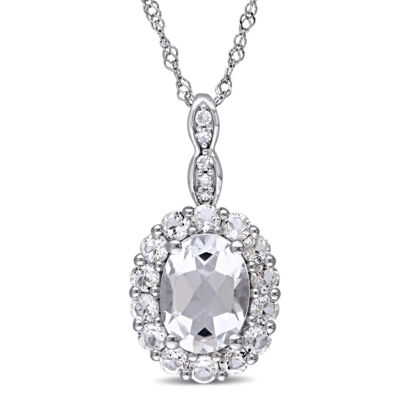 Womens Diamond Accent Genuine White Topaz 14K Gold Pendant Necklace