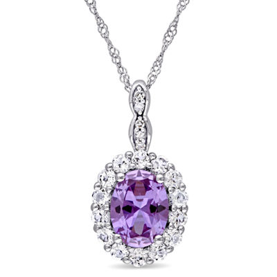 Womens Diamond Accent Lab Created Purple Alexandrite 14K Gold Pendant Necklace