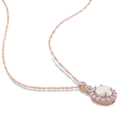 Womens Diamond Accent Genuine Pink Opal 14K Gold Pendant Necklace