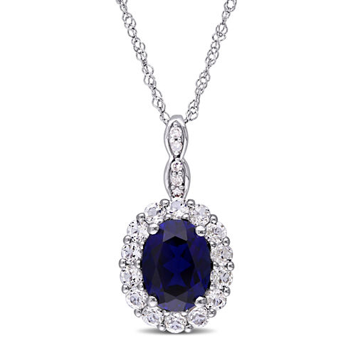 Womens Diamond Accent Blue Sapphire 14K Gold Pendant Necklace