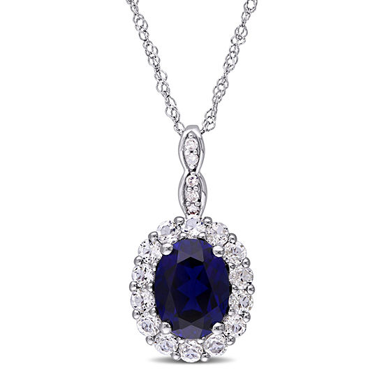 Womens Diamond Accent Lab Created Blue Sapphire 14k Gold Pendant Necklace