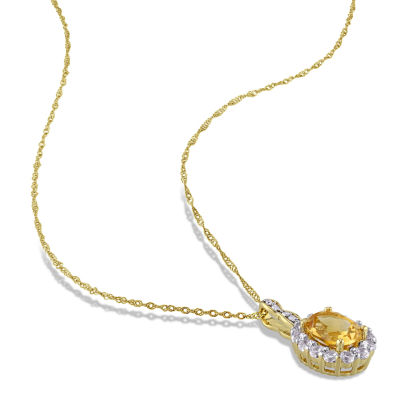 Womens Diamond Accent Yellow Citrine 14K Gold Pendant Necklace