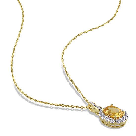 Womens Diamond Accent Genuine Yellow Citrine 14K Gold Pendant Necklace
