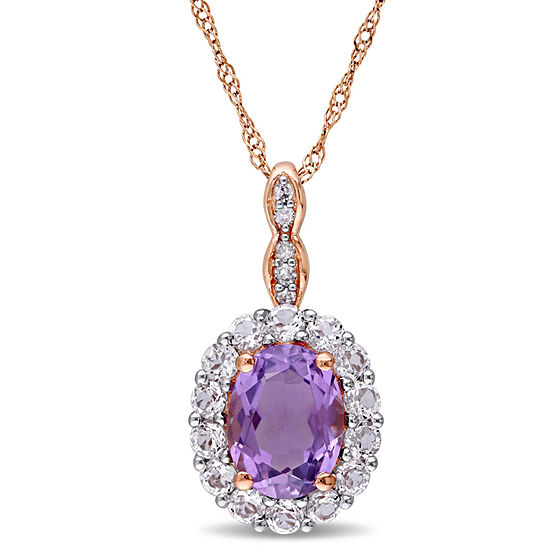 Womens Diamond Accent Genuine Purple Amethyst 14K Gold Pendant Necklace